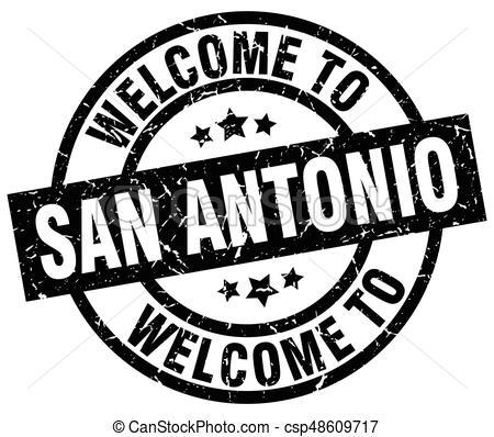 welcome to San Antonio black stamp.