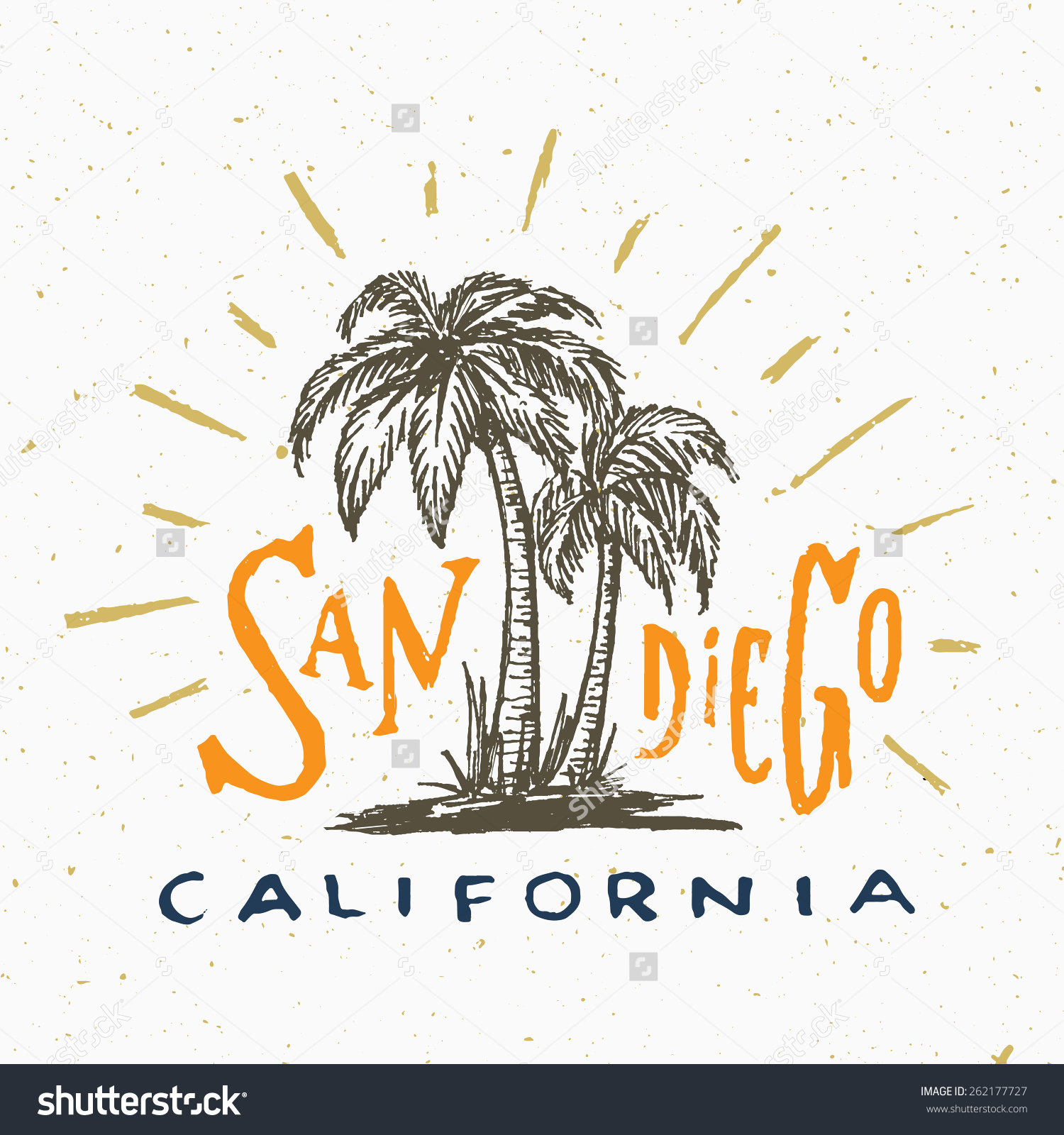 San Diego California T Shirt Graphic Stock Vector 262177727.