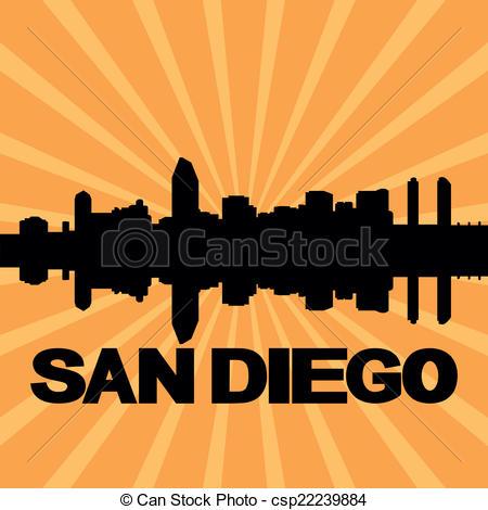 Vector Clip Art of San Diego skyline in orange background in.