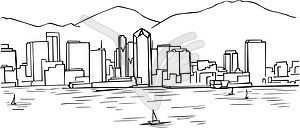 San diego skyline clipart.