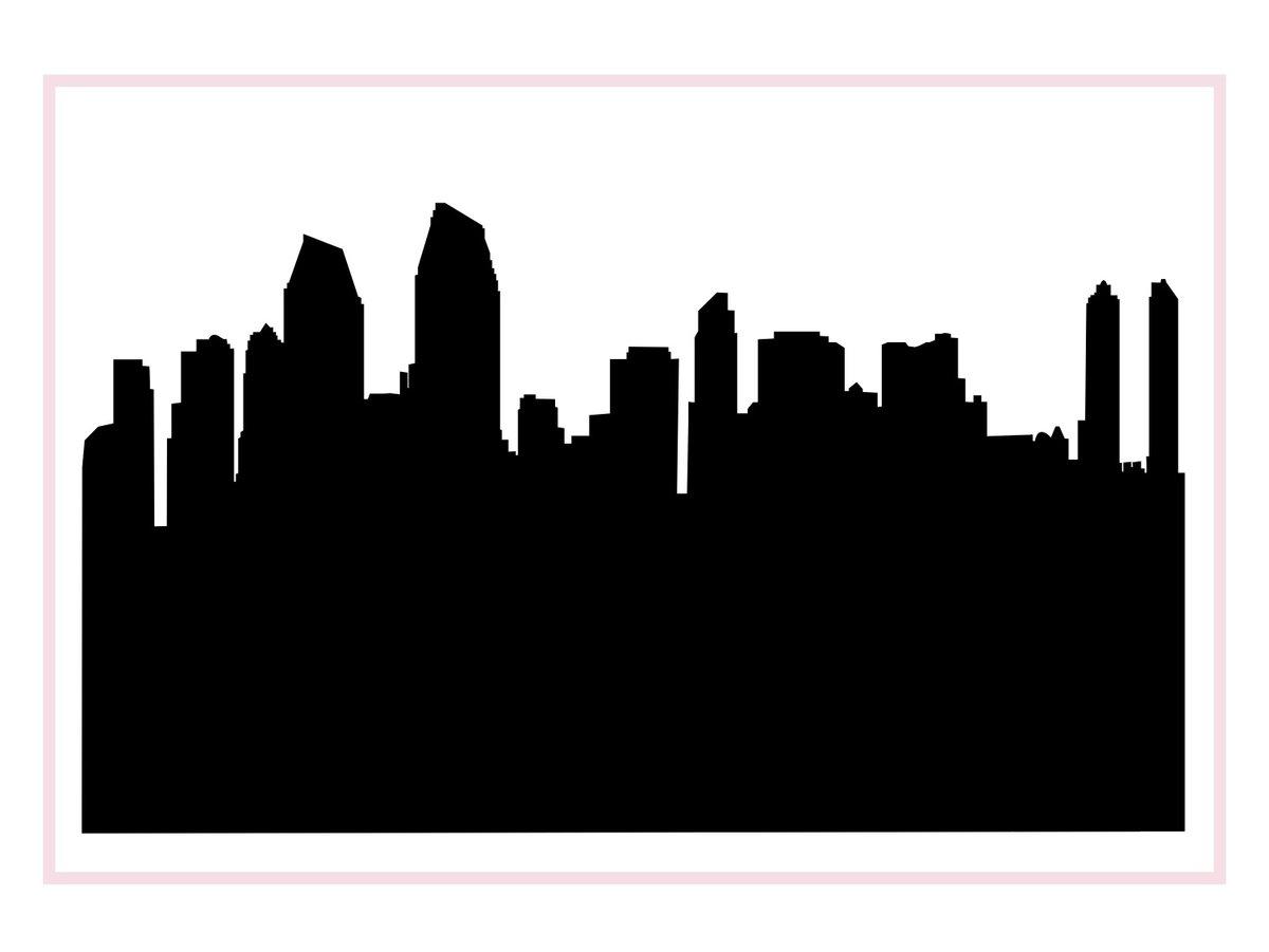 San Diego California Skyline Silhouette.