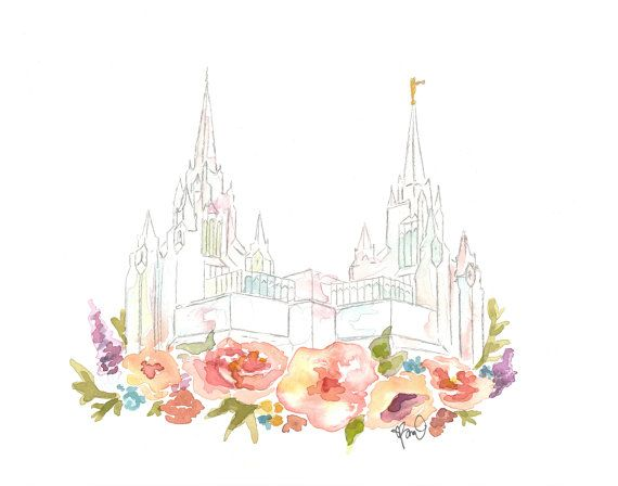 LDS Temple Watercolor (San Diego), San Diego Temple.