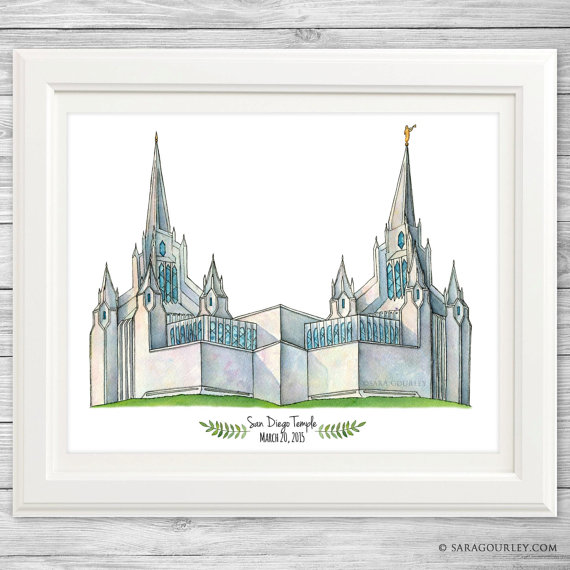 San Diego Temple Watercolor Art Print.