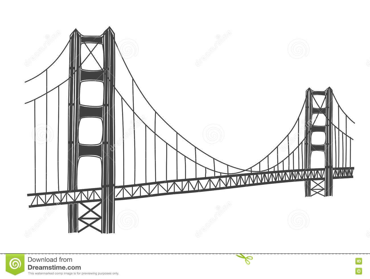 Photo about Simple illustration of Golden Gate bridge, San.