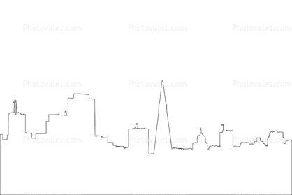 San Francisco Skyline outline, line drawing, shape.