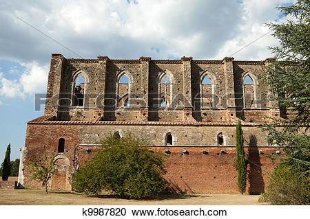 Stock Photography of The side wall of the Abbey of San Galgano.