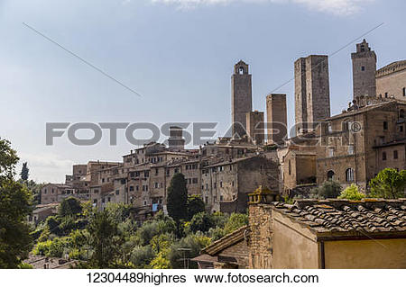 Stock Images of A rooftop viewpoint of the walled medieval village.