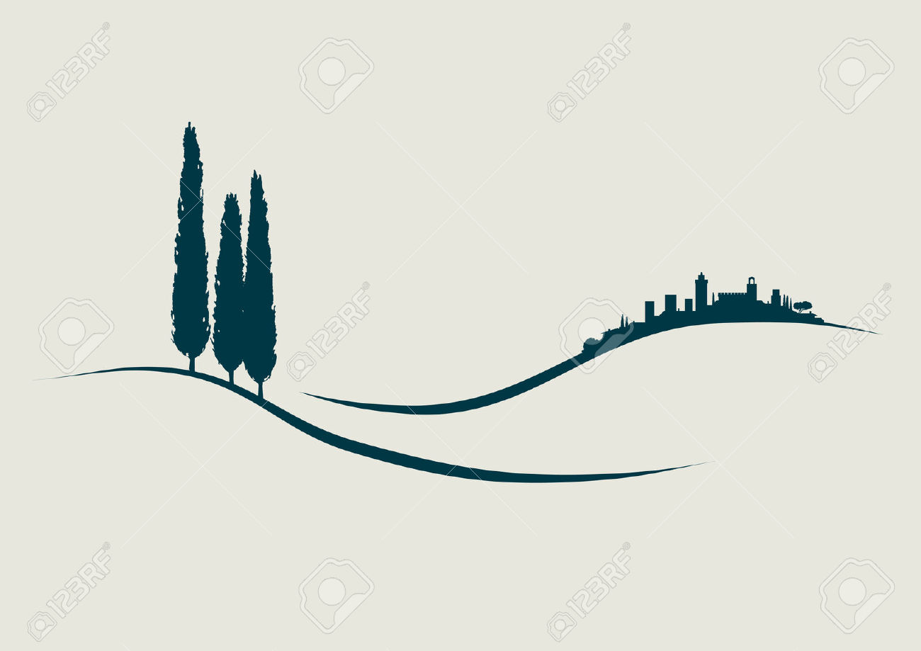 Stylized Illustration Showing San Gimignano In Tuscany Italy.