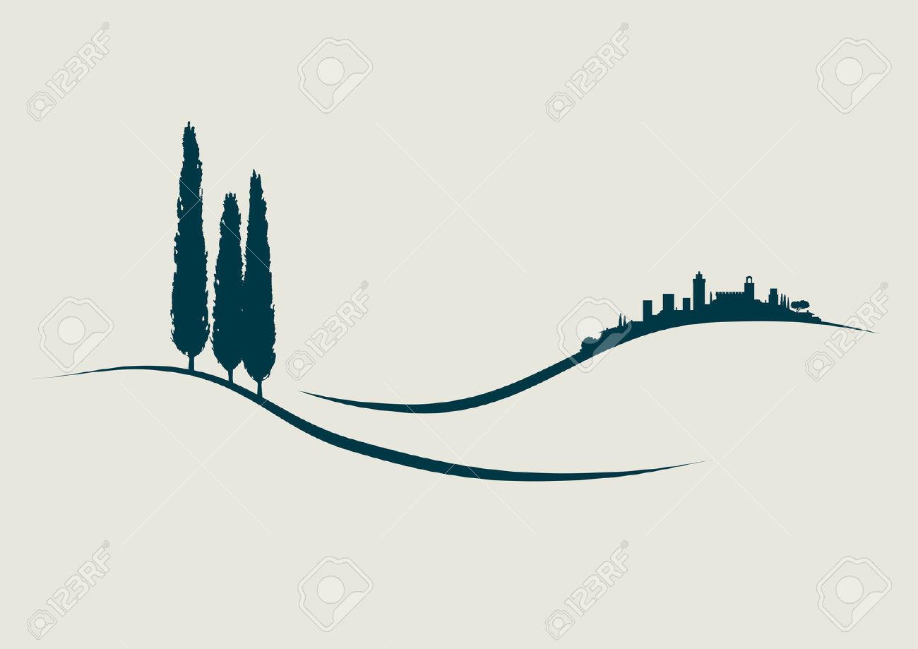 Stylized Illustration Showing San Gimignano In Tuscany Italy.