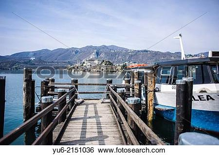 Stock Images of Boat for the island of San Giulio, village of Orta.