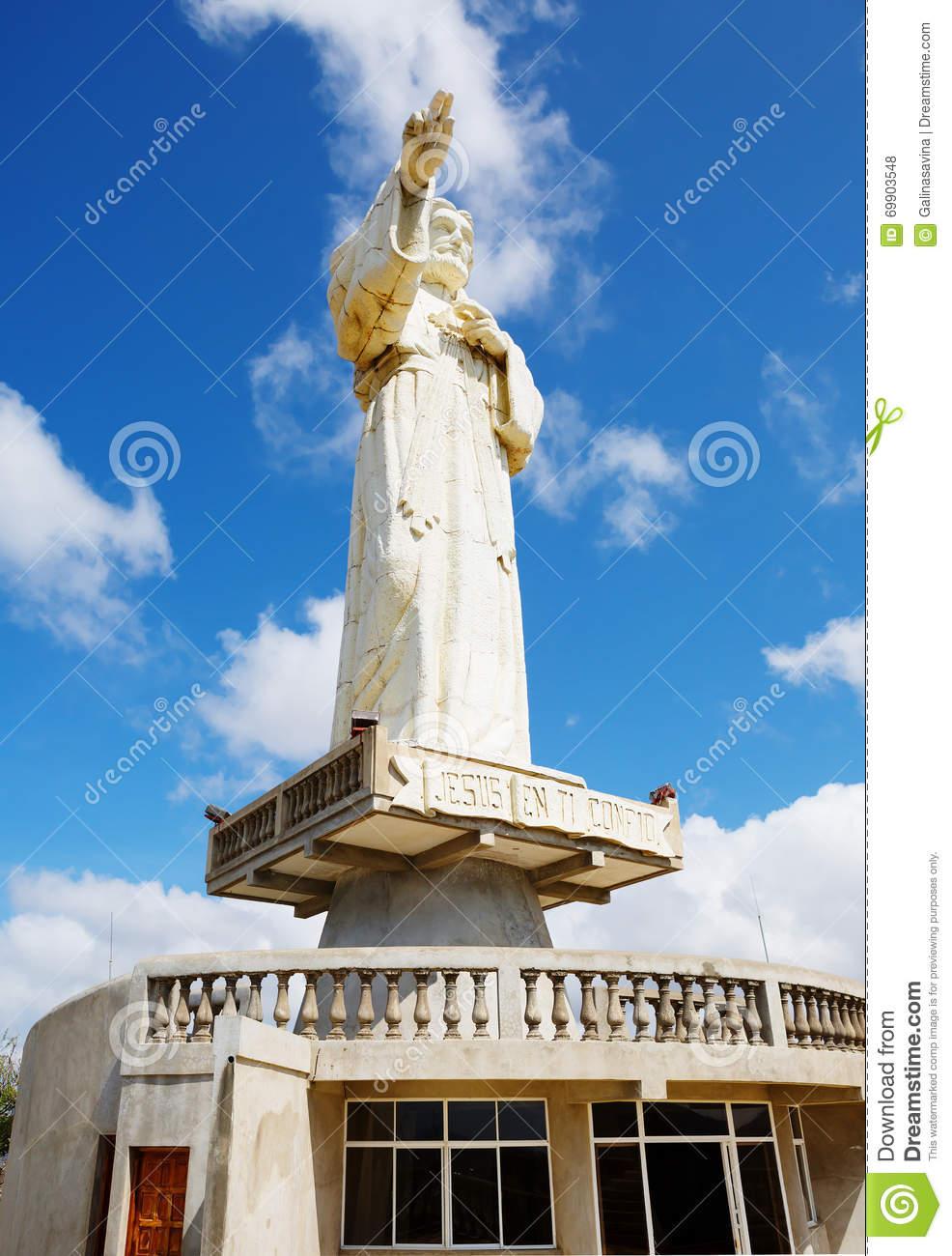Nicaragua. San Juan Del Sur. A Large Statue Of Christ. Stock Photo.