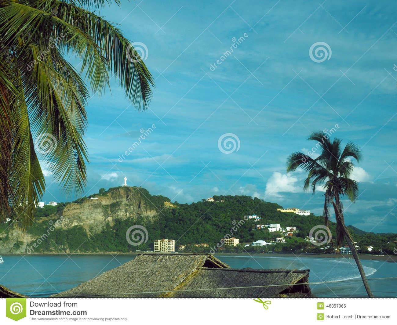 Beach Landscape San Juan Del Sur Nicaragua With Statue Jesus Chr.