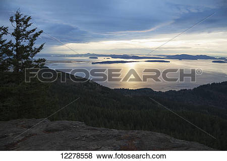 Pictures of Sunset view of San Juan Islands from Oyster Dome.