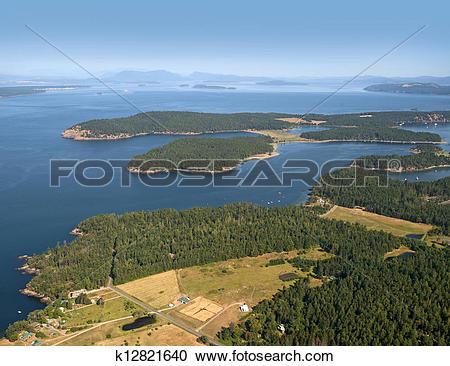 Stock Photography of Henry Island and San Juan Island, Gulf.