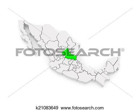 Stock Illustration of Map of San Luis Potosi. Mexico. k21083649.