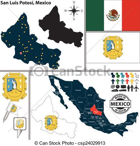 Vector Clip Art of Map of San Luis Potosi, Mexico.