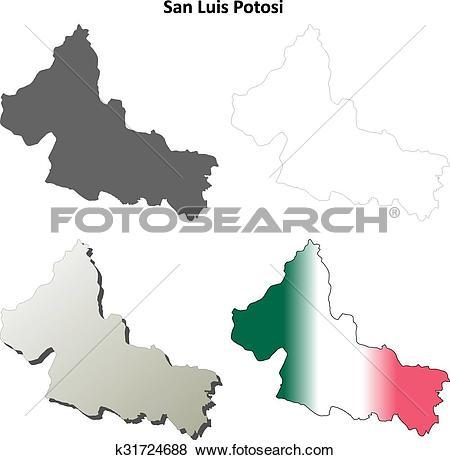 Clip Art of San Luis Potosi outline map set k31724688.