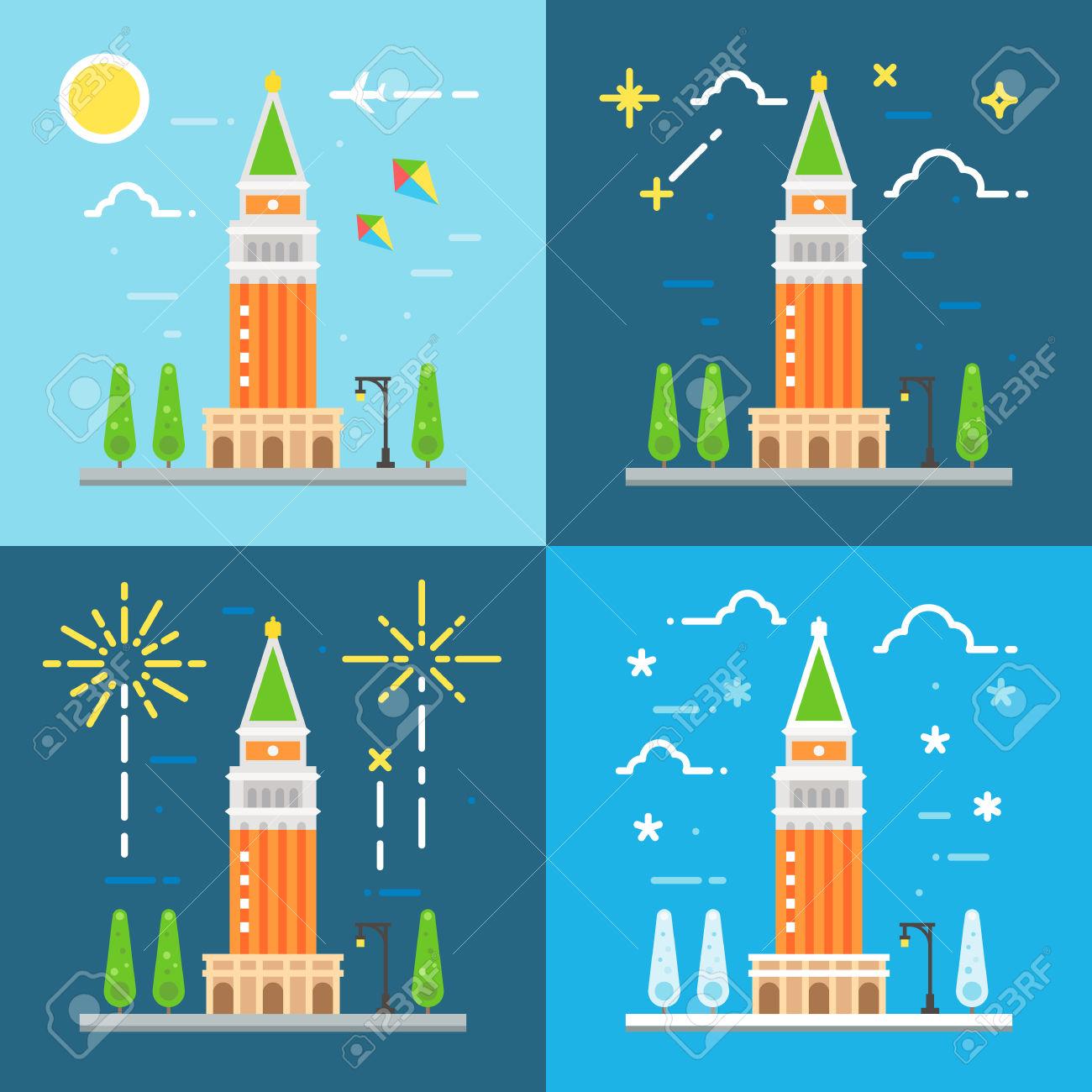 Campanile Illustrazione Vettoriale Design Piatto Di San Marco.