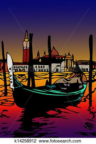 Clip Art of Gondola in San Marco k14258912.