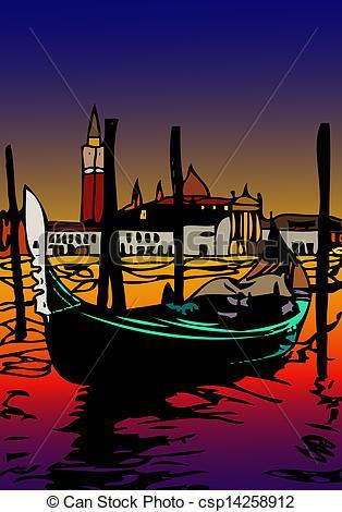 Clipart of Gondola in San Marco csp14258912.