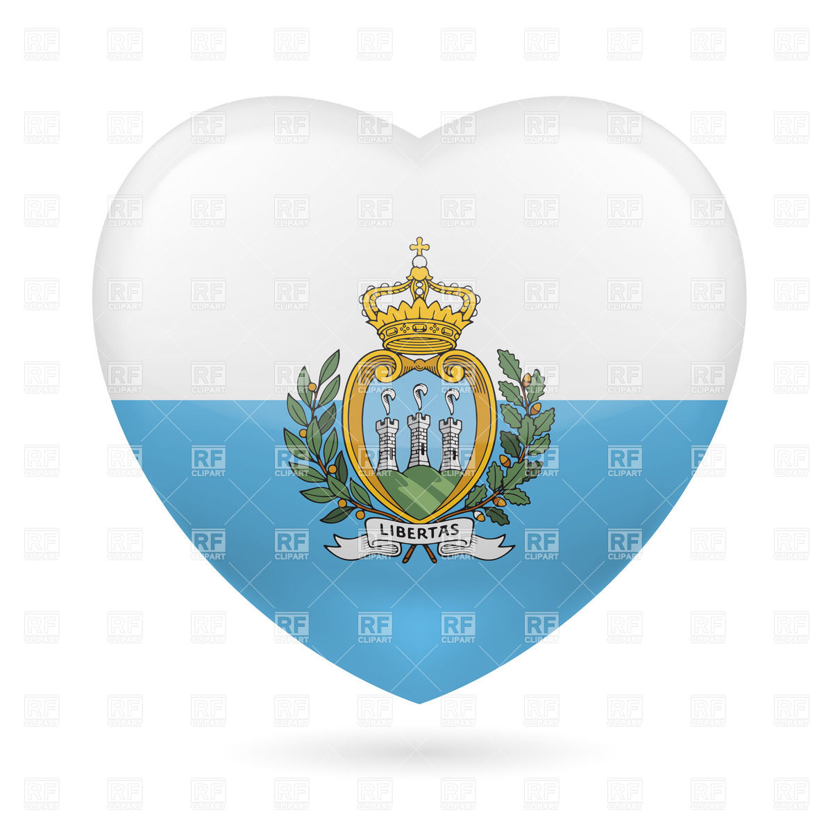 Heart with San Marino flag colors.