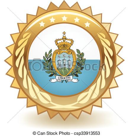 Clipart Vector of San Marino Badge.