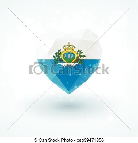 Clipart Vector of Flag of San Marino in shape diamond glass heart.