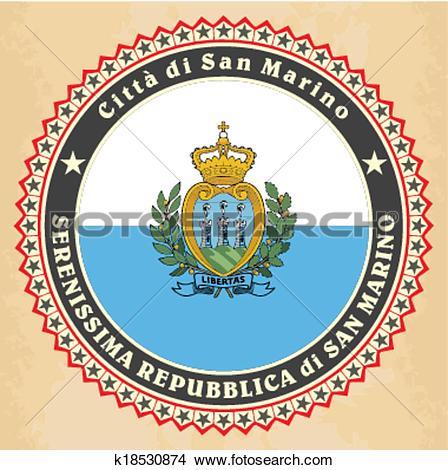Clipart of Vintage label cards of San Marino flag. k18530874.