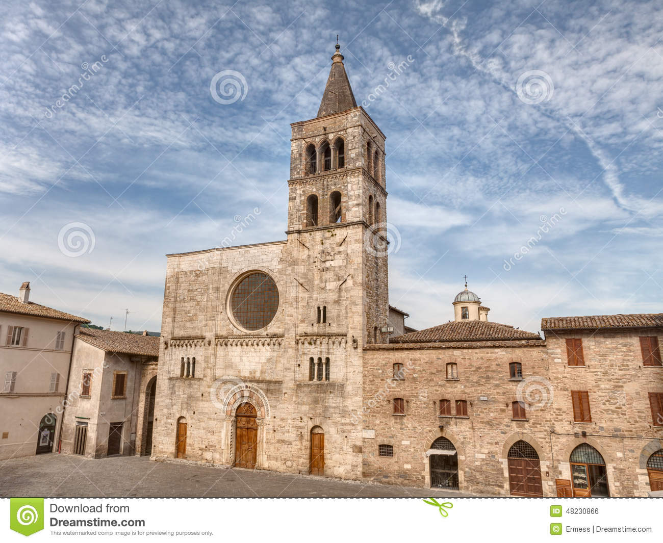 Church Of S. Michele Arcangelo In Bevagna, Italy Stock Photo.
