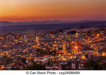 Pictures of San Miguel de Allende Mexico Miramar Overlook Sunset.