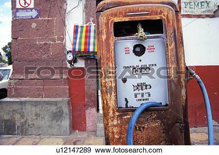 Stock Photograph of Gas Pump in San Miguel de Allende Mexico.