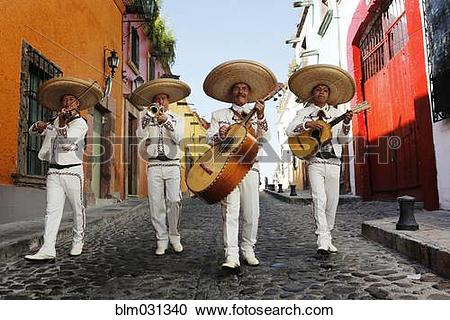 Stock Photography of Musicians playing in mariachi band, San.