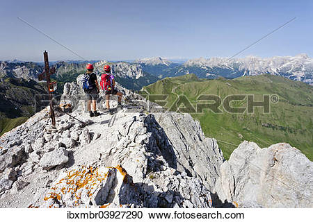 """Stock Photography of """"Climber on the summit of Colac on the Via."""