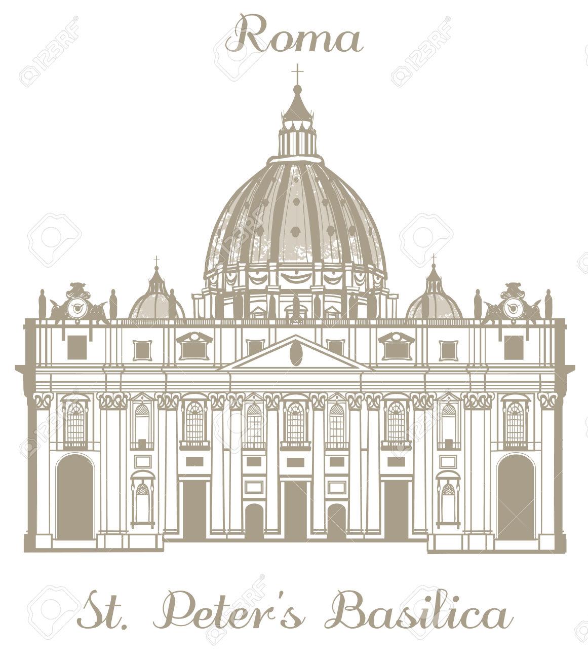 Illustrazione Vettoriale Disegnati A Mano Di Basilica Di San.