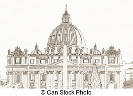 Stock Illustration of Piazza San Pietro in Vatican City.