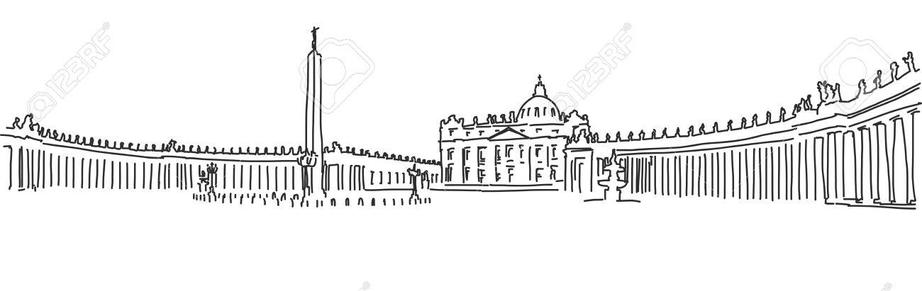 Disegno A Mano Piazza San Pietro E La Basilica Di San Pietro.