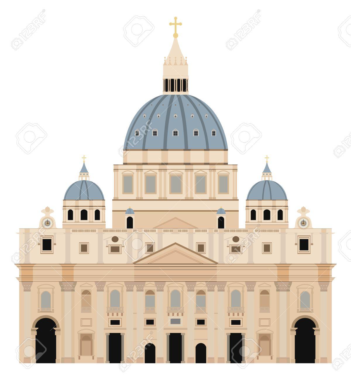 Saint Peter Basilica Vector Illustration.