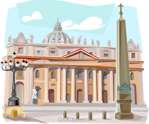 The Vatican Rome St. Peter's Cathedral Royalty Free Vector Clip.