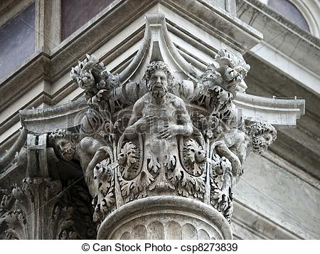 Stock Photographs of Capital from Fa?ade of San Rocco Church.