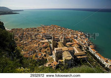 Stock Photo of San Salvatore cathedral, Cefalu, Italy, bird's eye.