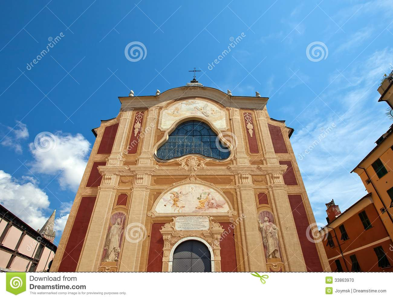 Church Of San Salvatore (XVII C.). Genoa, Italy Stock Photo.