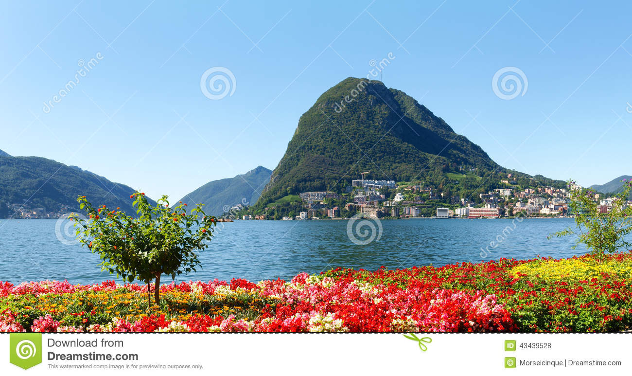 Monte San Salvatore Seen From The Park Stock Photo.