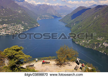 "Stock Photography of ""View onto the eastern tip of Lake Lugano."