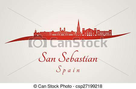 Vector Clip Art of San Sebastian skyline in red and gray.