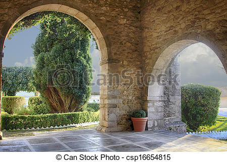 Stock Photography of old chapel entrance in San Vicente de la.