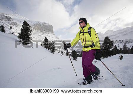 "Stock Photography of ""Snowshoer in the Fanes range, San Vigilio."