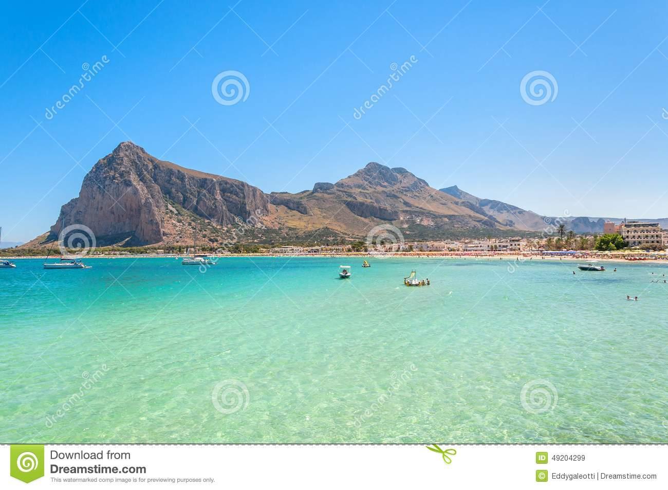 Sea In San Vito Lo Capo Beach Stock Photography.