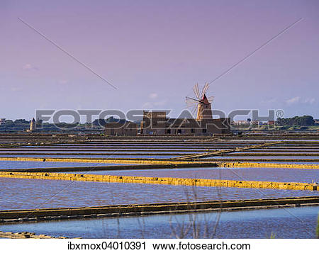 """Stock Photography of """"Salt Museum with windmill, saltworks, San."""