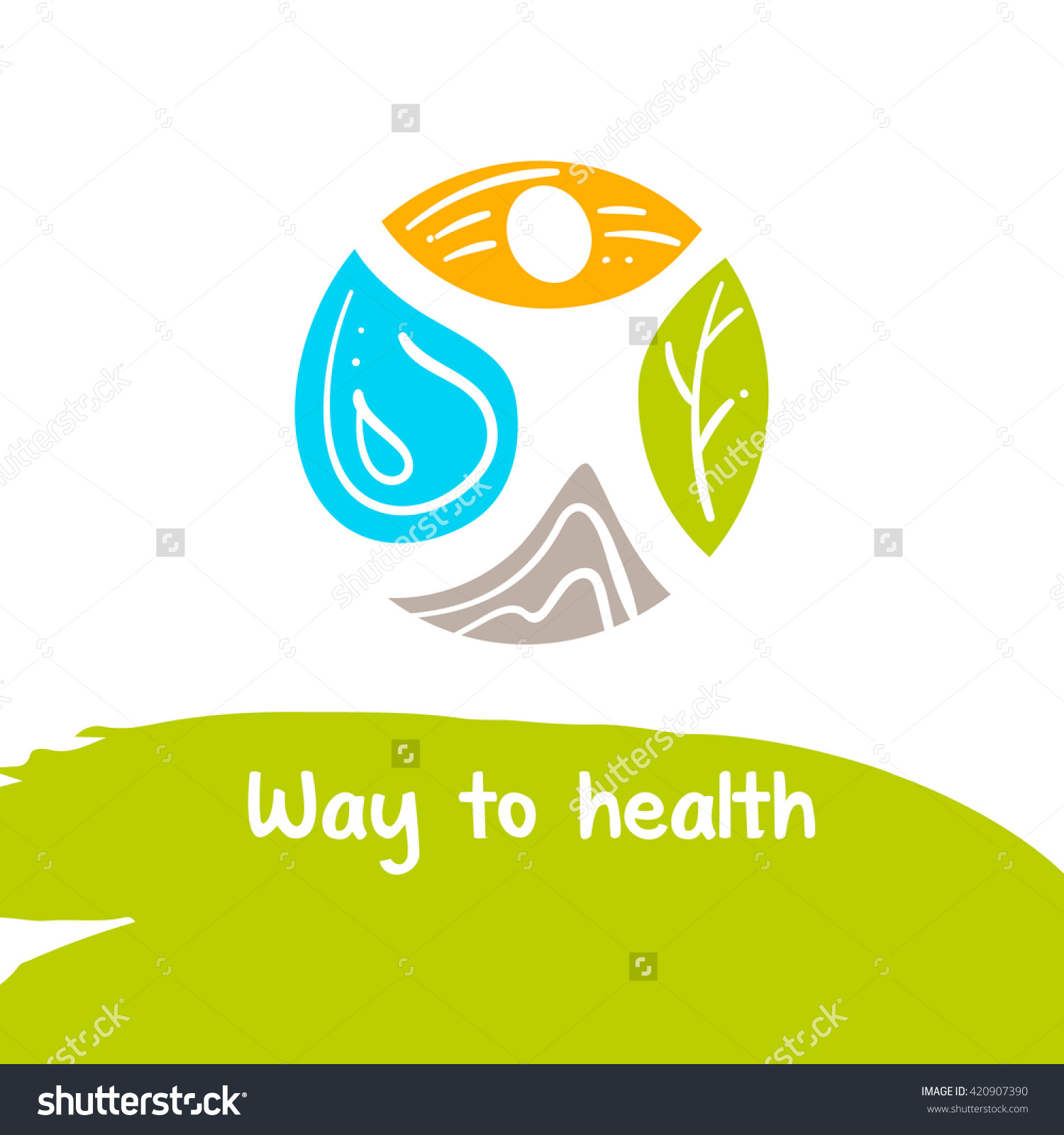 Way To Health. Template Logo. Treatment And Rest. Logo For The.