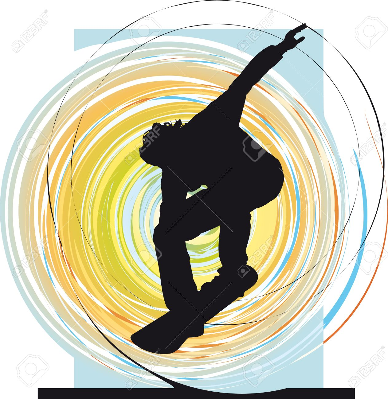 Wake Boarder In Action. Vector Illustration Royalty Free Cliparts.